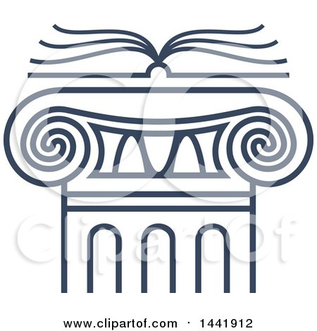 Clipart of a Blue Open Law Book over a Greek or Roman Column Pillar - Royalty Free Vector Illustration by Vector Tradition SM