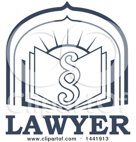 Clipart of a Pargraph Clause or Section Symbol over a Legal Book and Sun, over Lawyer Text - Royalty Free Vector Illustration by Vector Tradition SM