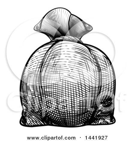 Clipart of a Black and White Engraved or Woodcut Styled Burlap Money Bag Sack - Royalty Free Vector Illustration by AtStockIllustration
