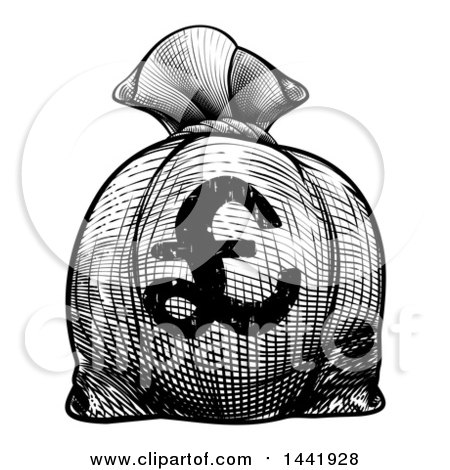 Clipart of a Black and White Engraved or Woodcut Styled Euro Burlap Money Bag Sack - Royalty Free Vector Illustration by AtStockIllustration