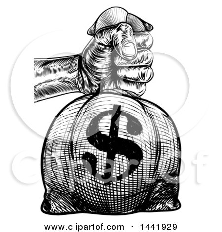 Clipart of a Black and White Engraved or Woodcut Styled Hand Holding out a Burlap USD Money Bag Sack to Pay Taxes - Royalty Free Vector Illustration by AtStockIllustration