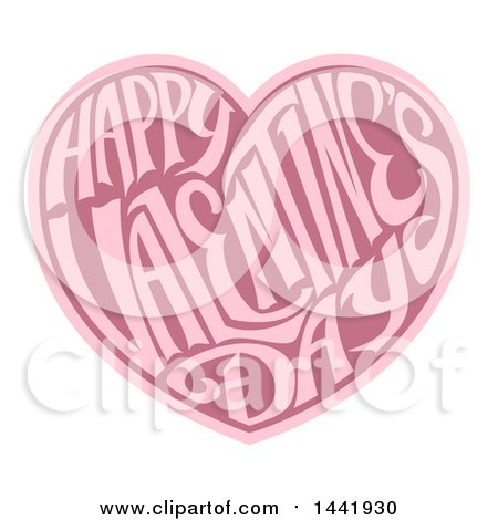Clipart Of A Two Toned Love Heart With Happy Valentines Day Text In Side Royalty Free Vector Illustration