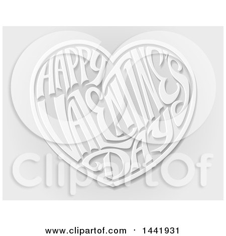 Clipart of a 3d White and Gray Love Heart with Happy Valentines Day Text in Side, over Gray - Royalty Free Vector Illustration by AtStockIllustration