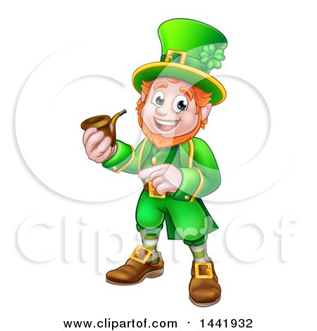 Clipart of a Cartoon Friendly St Patricks Day Leprechaun Smoking a Pipe and Pointing - Royalty Free Vector Illustration by AtStockIllustration