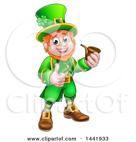 Clipart of a Cartoon Friendly St Patricks Day Leprechaun Smoking a Pipe and Giving a Thumb up - Royalty Free Vector Illustration by AtStockIllustration