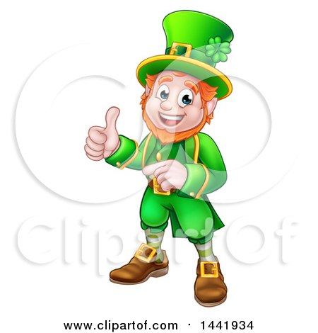 Clipart of a Cartoon Friendly St Patricks Day Leprechaun Pointing and Giving a Thumb up - Royalty Free Vector Illustration by AtStockIllustration