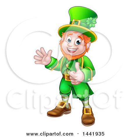 Clipart of a Cartoon Friendly St Patricks Day Leprechaun Waving and Giving a Thumb up - Royalty Free Vector Illustration by AtStockIllustration
