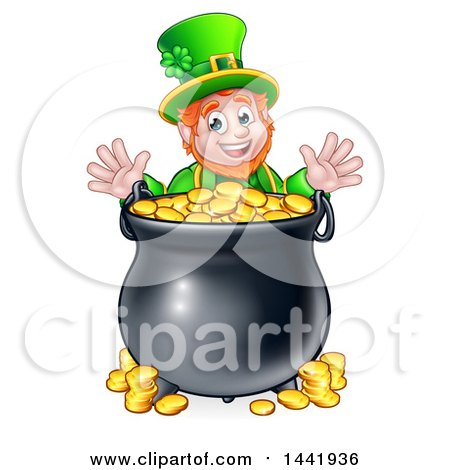 Clipart of a Cartoon Friendly St Patricks Day Leprechaun with a Pot of Gold - Royalty Free Vector Illustration by AtStockIllustration