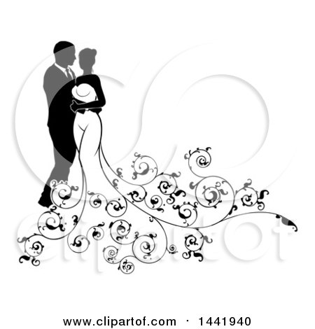 Clipart of a Black and White Silhouetted Posing Bride and Groom with Swirls - Royalty Free Vector Illustration by AtStockIllustration