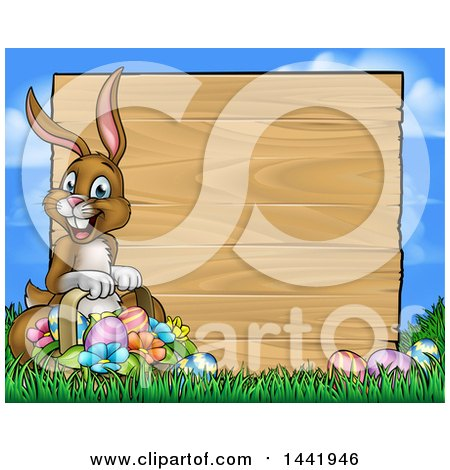 Clipart of a Cartoon Happy Brown Easter Bunny Rabbit Holding a Basket in Front a Wood Sign Against Sky - Royalty Free Vector Illustration by AtStockIllustration