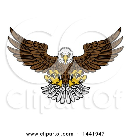 Clipart of a Cartoon Fierce Swooping Bald Eagle with Talons Extended, Flying Forward - Royalty Free Vector Illustration by AtStockIllustration