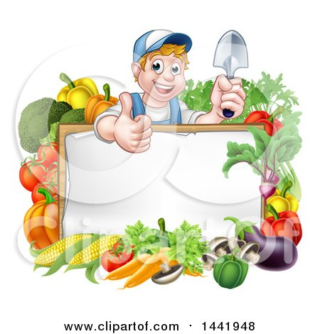 Clipart of a Cartoon Happy White Male Gardener in Blue, Holding a Garden Trowel and Giving a Thumb up over a White Sign with Produce - Royalty Free Vector Illustration by AtStockIllustration