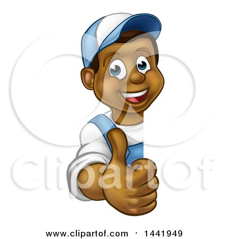 Cartoon Happy Black Male Worker Giving a Thumb up Around a Sign Posters, Art Prints