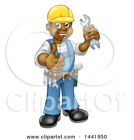 Cartoon Full Length Happy Black Male Mechanic Holding up a Wrench and Giving a Thumb up Posters, Art Prints