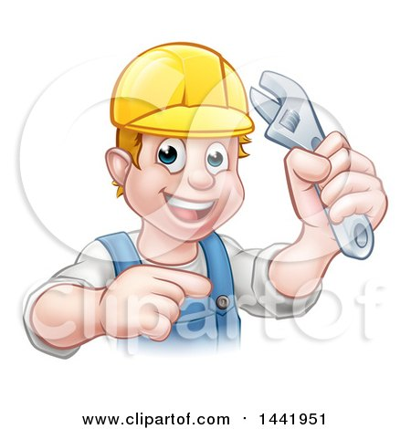 Cartoon Happy White Male Plumber Wearing a Hardhat, Holding an Adjustable Wrench and Pointing Posters, Art Prints
