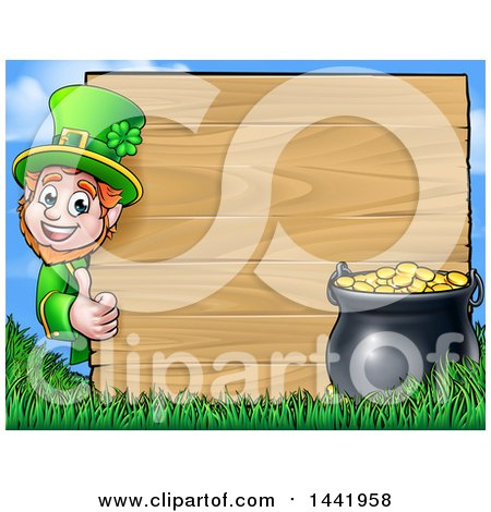 Clipart of a Cartoon St Patricks Day Leprechaun Giving a Thumb up Around a Wood Sign with a Pot of Gold - Royalty Free Vector Illustration by AtStockIllustration