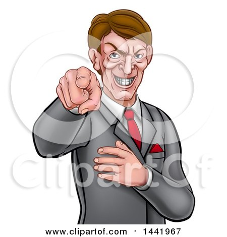 Clipart of a Cartoon Grinning Evil White Business Man Pointing His Finger Outwards - Royalty Free Vector Illustration by AtStockIllustration
