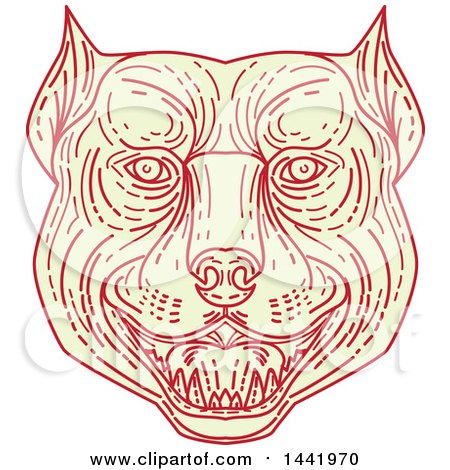 Clipart of a Mono Line Styled Angry Pitbull Dog Head - Royalty Free Vector Illustration by patrimonio