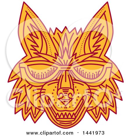 Clipart of a Mono Line Styled Coyote Wolf Face with Sunglasses - Royalty Free Vector Illustration by patrimonio