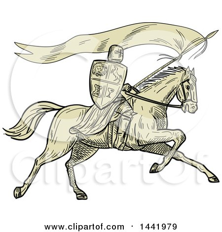 Clipart of a Retro Sketched Horseback Knight Holding a Lance, Shield and Flag - Royalty Free Vector Illustration by patrimonio