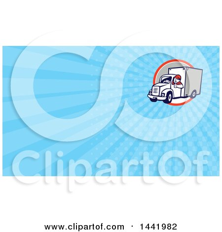 Clipart of a Retro Cartoon Male Delivery Driver Giving a Thumb up and Blue Rays Background or Business Card Design - Royalty Free Illustration by patrimonio