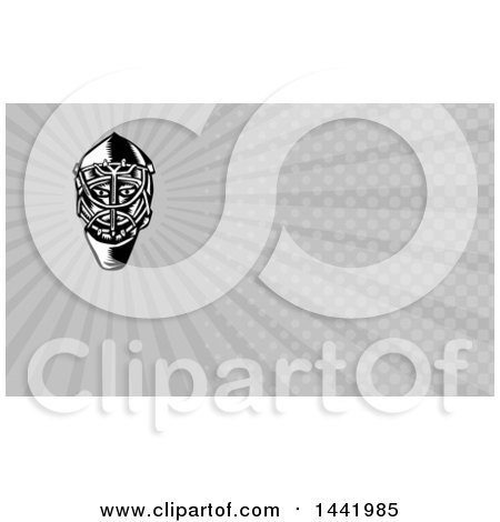Clipart of a Retro Black and White Woodcut Ice Hockey Goalie Helmet and Gray Rays Background or Business Card Design - Royalty Free Illustration by patrimonio
