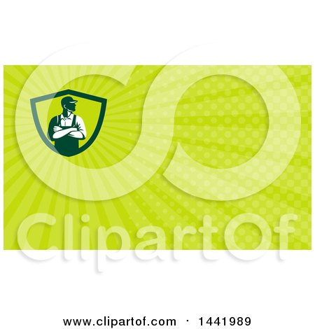 Clipart of a Retro Male Farmer with Folded Arms, Looking to the Side and Green Rays Background or Business Card Design - Royalty Free Illustration by patrimonio