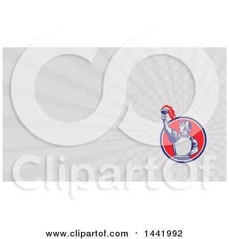 Clipart of a Retro Spanish Conquistador Holding up a Torch and Gray Rays Background or Business Card Design - Royalty Free Illustration by patrimonio