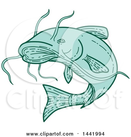 Clipart of a Mono Line Styled Jumping Catfish - Royalty Free Vector Illustration by patrimonio