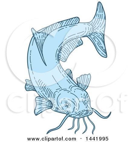 Clipart of a Mono Line Styled Blue Catfish - Royalty Free Vector Illustration by patrimonio