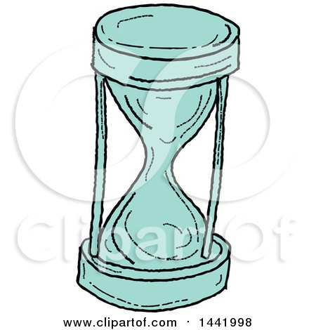 Clipart of a Sketched Hourglass - Royalty Free Vector Illustration by patrimonio