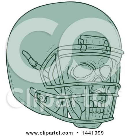 Clipart of a Sketched Green Football Player Skull and Helmet - Royalty Free Vector Illustration by patrimonio