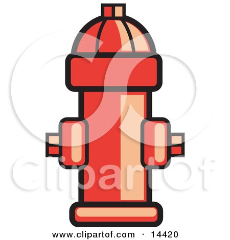 Red Fire Hydrant Ready For Use In Case Of An Emergency Clipart Illustration by Andy Nortnik