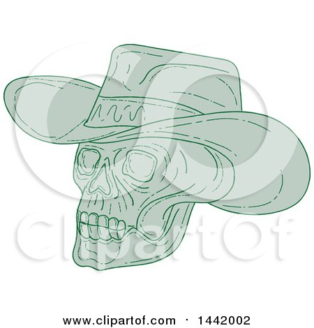 Clipart of a Sketched Green Cowboy Skull - Royalty Free Vector Illustration by patrimonio