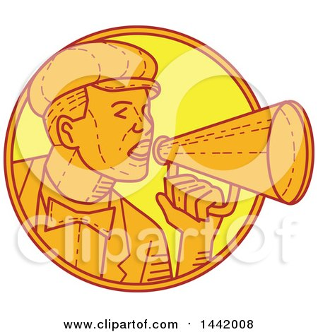Clipart of a Mono Line Styled Movie Director or Carnival Barker Using a Megaphone - Royalty Free Vector Illustration by patrimonio