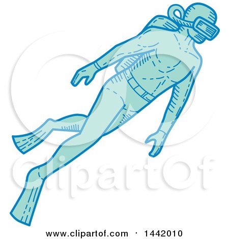 Clipart of a Mono Line Styled Scuba Diver Swimming - Royalty Free Vector Illustration by patrimonio