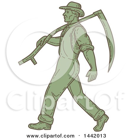 Clipart of a Mono Line Styled Green Male Farmer Walking with a Scythe over His Shoulder - Royalty Free Vector Illustration by patrimonio