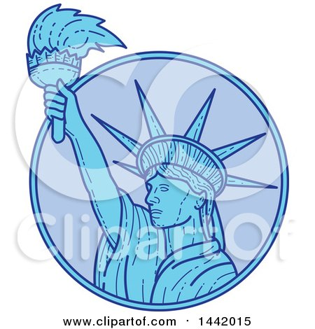 Clipart of a Mono Line Styled Statue of Liberty Holding a Torch in a Circle - Royalty Free Vector Illustration by patrimonio