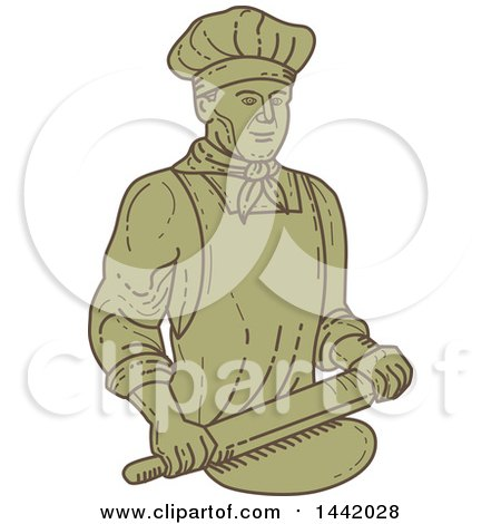 Clipart of a Mono Line Styled Male Baker Rolling Dough - Royalty Free Vector Illustration by patrimonio