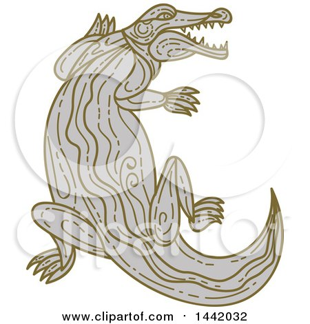 Clipart of a Mono Line Styled Angry Alligator or Crocodile - Royalty Free Vector Illustration by patrimonio