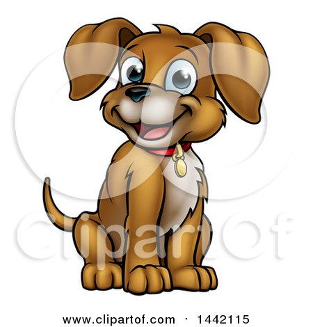 Clipart of a Cartoon Happy Puppy Dog Sitting - Royalty Free Vector Illustration by AtStockIllustration