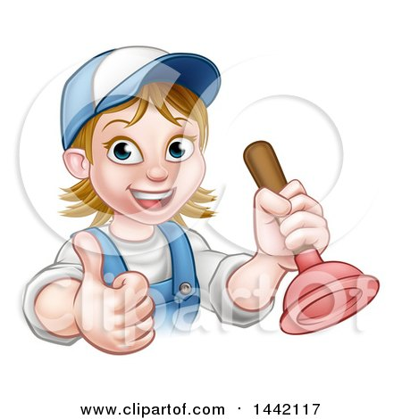 Cartoon Happy White Female Plumber Giving a Thumb up and Holding a Plunger Posters, Art Prints