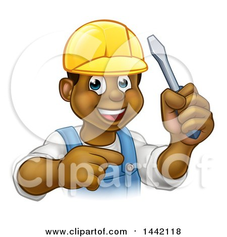 Clipart of a Cartoon Happy Black Male Electrician Holding a Screwdriver and Pointing - Royalty Free Vector Illustration by AtStockIllustration