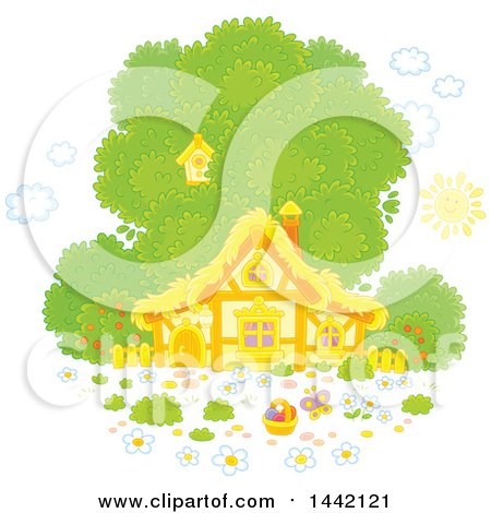 Clipart of a Cottage House with a Tree and Easter Egg Basket - Royalty Free Vector Illustration by Alex Bannykh
