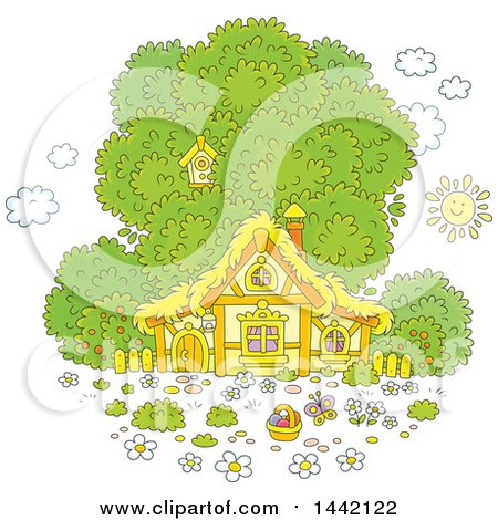 Clipart of a Cartoon Cottage with a Tree and Easter Egg Basket - Royalty Free Vector Illustration by Alex Bannykh