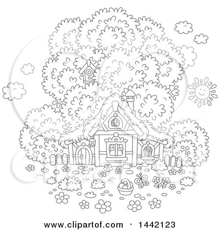 Clipart of a Cartoon Black and White Lineart Cottage with a Tree and Easter Egg Basket - Royalty Free Vector Illustration by Alex Bannykh
