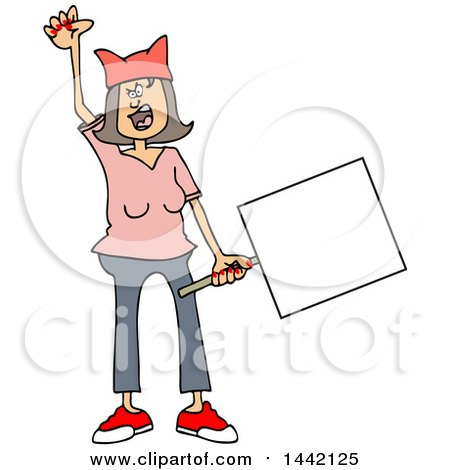 Clipart of a Cartoon Angry White Woman Shouting, Wearing a Pink Pussy Hat and Holding a Blank Sign at the Womens March - Royalty Free Vector Illustration by djart