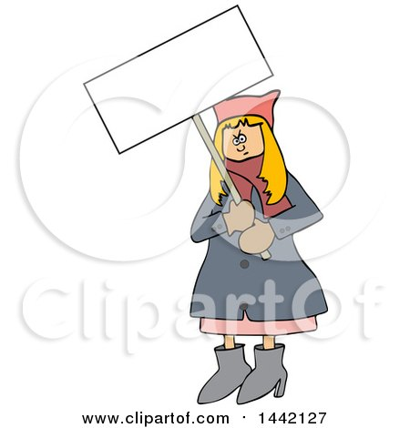 Clipart of a Cartoon Angry White Woman Wearing a Pink Pussy Hat and Holding a Blank Sign at the Womens March - Royalty Free Vector Illustration by djart