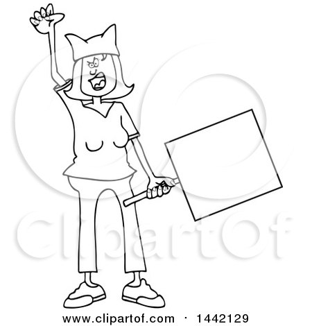 Clipart of a Cartoon Black and White Lineart Angry Woman Shouting, Wearing a Pussy Hat and Holding a Blank Sign at the Womens March - Royalty Free Vector Illustration by djart