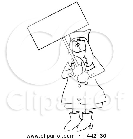 Clipart of a Cartoon Black and White Lineart Angry Woman Wearing a Pussy Hat and Holding a Blank Sign at the Womens March - Royalty Free Vector Illustration by djart